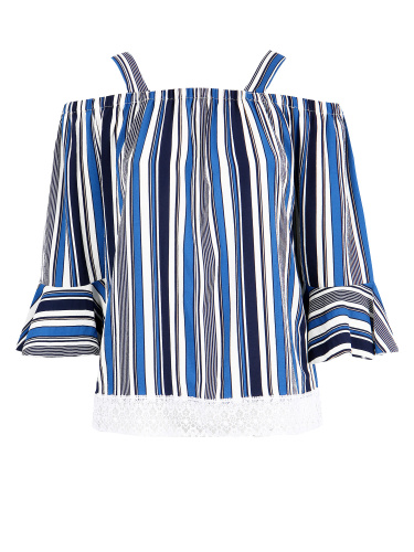 Lovedrobe GB Blue Striped Cold Shoulder Top