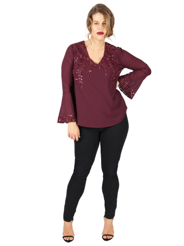 Lovedrobe Luxe wine embellished top with bell cuffs