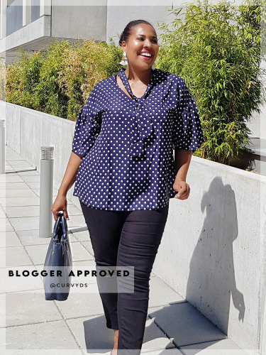 Lovedrobe Navy Polka Dot Tie Neck Top