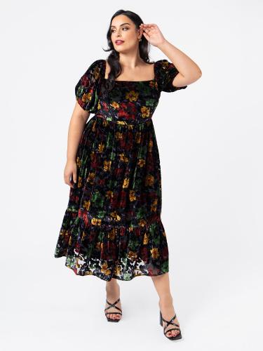 Lovedrobe Luxe Square Neckline Floral Velvet Midi Dress with Elasticated Short Sleeves