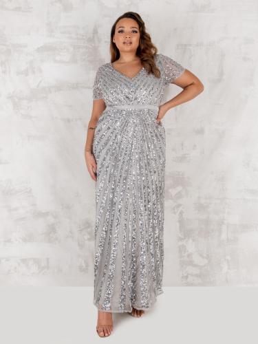 Maya Deluxe  Curve Soft Grey Short Sleeve Stripe Embellished Maxi Dress