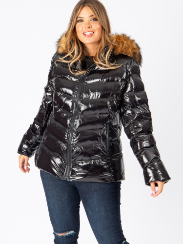 Lovedrobe Black Shine Padded Coat with Faux Fur Hood