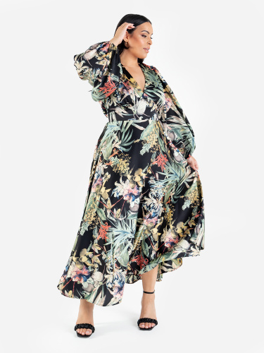 Lovedrobe Luxe Botanical V Neck Midaxi Dress with Balloon Sleeves