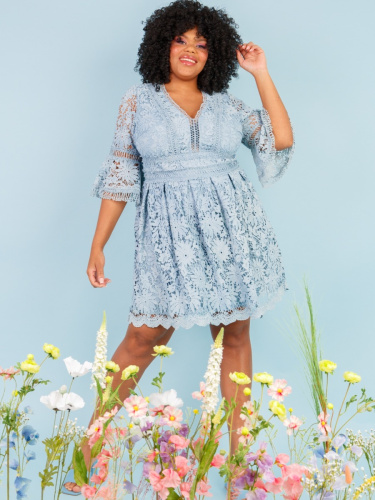 Lovedrobe Luxe Sky Blue Floral Lace Skater Dress