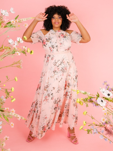 Lovedrobe Luxe Pink Cold Shoulder Floral Maxi Dress
