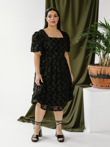 Lovedrobe Luxe Black Midi Dress with Puff Sleeves and Textured Floral Detail