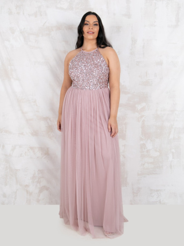 Maya Deluxe Curve Frosted Pink Embellished Halter Neck Maxi Dress