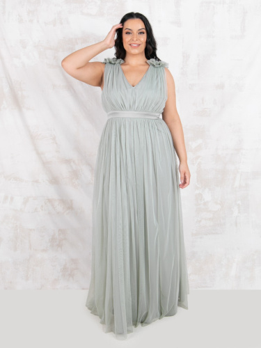 Maya Deluxe Curve Green Lily Maxi Dress with Ruffle Shoulder Detail