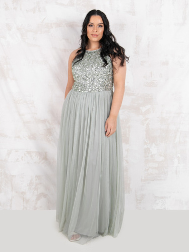 Maya Deluxe Curve Green Lily Embellished Halter Neck Maxi Dress