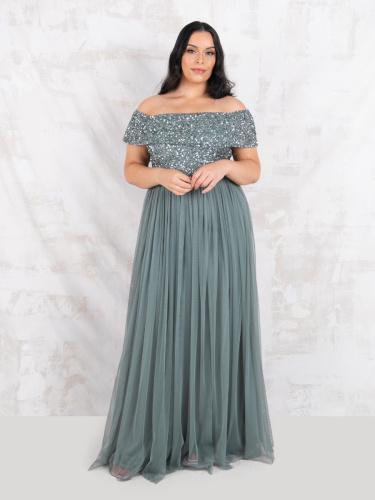 Maya Deluxe Curve Misty Green Bardot Embellished Maxi Dress