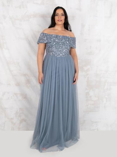 Maya Deluxe Curve Dusty Blue Bardot Embellished Maxi Dress