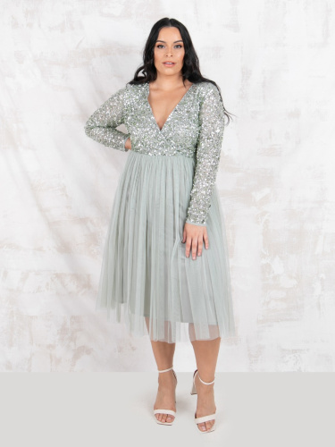 Maya Deluxe Curve Green Lily Faux Wrap Front Embellished Midi Dress