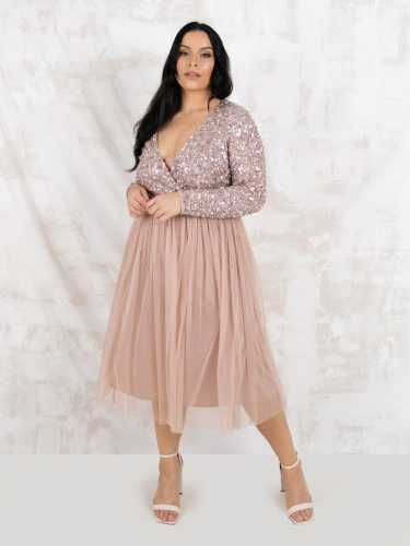 Maya Deluxe Curve Taupe Blush Faux Wrap Front Embellished Midi Dress