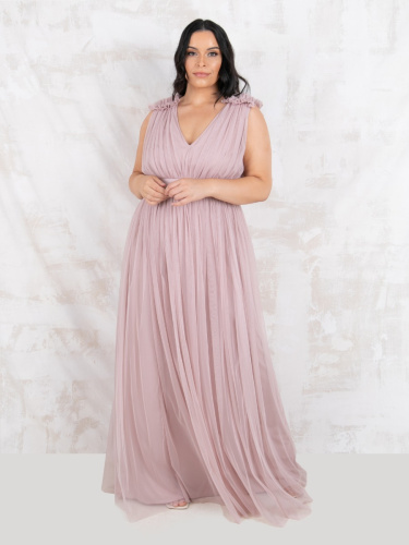 Maya Deluxe Curve Frosted Pink Maxi Dress With Ruffle Shoulder Detail