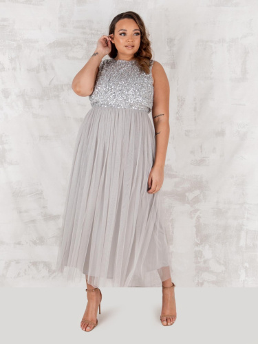 Maya Deluxe Curve Soft Grey Embellished Midaxi Dress