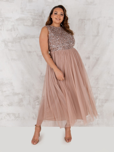 Maya Deluxe Curve Taupe Blush Embellished Midaxi Dress