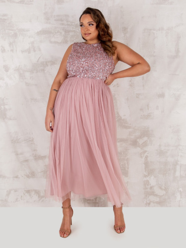 Maya Deluxe Curve Frosted Pink Embellished Midaxi Dress