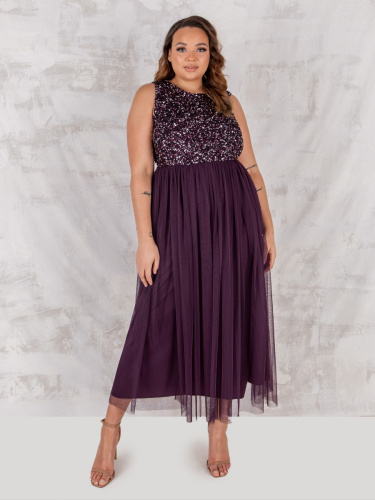 Maya Deluxe Curve Berry Embellished Midaxi Dress