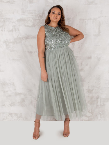 Maya Deluxe Curve Green Lily Embellished Midaxi Dress