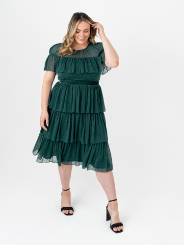 Anaya With Love Recycled Pine Green Tiered Midi Dress with Ruffle Detail
