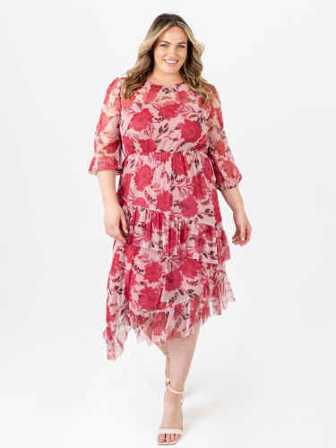Anaya With Love Recycled Floral Print Asymmetrical Midi Dress with Ruffle Detail