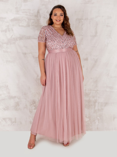 Maya Deluxe Curve Frosted Pink Stripe Embellished Maxi Dress With Sash Belt