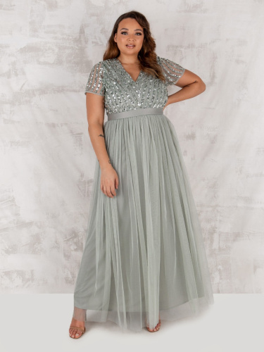 Maya Deluxe Curve Green Lily Stripe Embellished Maxi Dress With Sash Belt